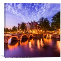 AMSTERDAM Idyllic nightscape from Keizersgracht , Canvas Print