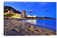 Monaco beach shortly after sunset, Canvas Print
