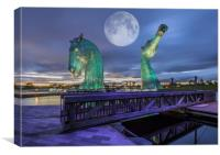 Moonlit Kelpies, Canvas Print