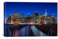 The New York City Skyline at night from DUMBO Broo, Canvas Print