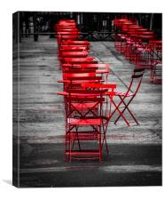 Red Tables and Chairs, Canvas Print