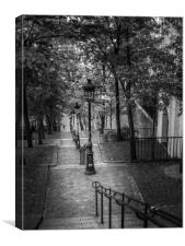 The Rue Foyatier Stairs in Montmartre Paris, Canvas Print
