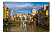 Riverside houses in Girona's Old quarter, Canvas Print