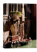 Boat moored on a Canal, Venice, Canvas Print