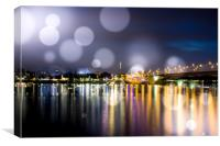 Bonn at night on the Rhine , Canvas Print