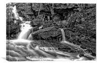 Lumsdale Falls in Black and White, Canvas Print