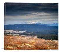 Mountains of Rondane National Park from Kvitfjell , Canvas Print