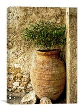 Old clay pitcher, Canvas Print