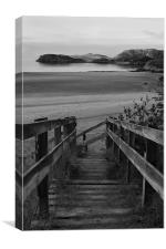 Steps to the Beach (Black and White), Canvas Print