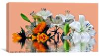 Sunflowers and Lilies, Canvas Print