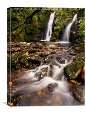 Twin waterfalls on the Venford Brook, Dartmoor, Canvas Print