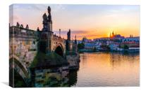 Charles Bridge and St. Vitus Cathedral in Prague, Canvas Print