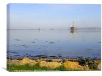 Udale Bay, RSPB reserve and oil rigs, Canvas Print