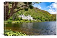 Kylemore Abbey in Connemara mountains with lake in, Canvas Print