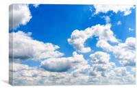 White Cumulus Clouds On Blue Sky, Canvas Print