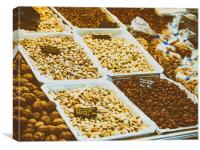 Nuts, Pistachio, Almonds And Peanuts For Sale In F, Canvas Print