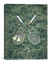Badminton Racket And Shuttlecock Equipment In Gras, Canvas Print