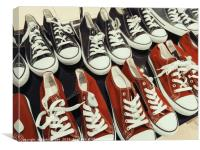 Classic Black And Red Sneakers, Canvas Print