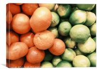 Lime And Tangerines Citrus Fruits In Fruit Market, Canvas Print