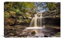 Autumn at Summerhill Force in Teesdale, Canvas Print