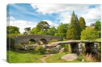 Postbridge Clapper Bridge, Canvas Print