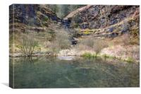Pond and Waterfall above Clydach Vale Rhondda, Canvas Print