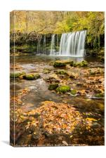 Upper Ddwli Falls, Vale of Neath in autumn, Canvas Print