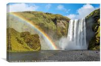 Skogafoss Waterfall and Rainbow Iceland, Canvas Print