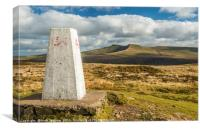 Trig Point on Fan Frynych Brecon Beacons, Canvas Print