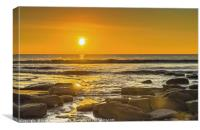 Setting Sun over Dunraven Bay, Canvas Print
