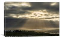 Sunbeams over the Bristol Channel from Ogmore by S, Canvas Print