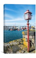The Old Red Lamp Post Newlyn Harbour, Canvas Print