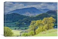 View of Wetherlam from above Elterwater , Canvas Print
