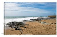 Porthleven Beach and Breakwater Cornwall, Canvas Print