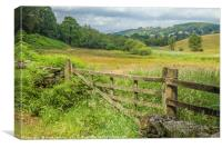 Wooden Gate and Farmland in the Lake District , Canvas Print