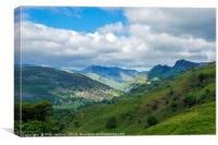 The Great Langdale Valley and Langdale Pikes, Canvas Print