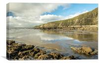 Dunraven Bay with clouds reflected on wet sand, Canvas Print