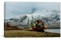 The Corpach Wreck beneath Ben Nevis, Canvas Print