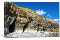 The Cliff Caves at Pendine Sands Carmarthenshire, Canvas Print