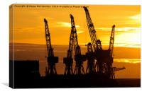 Cranes on the River Clyde at sunset, Canvas Print