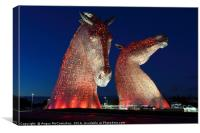 The Kelpies by night 2, Canvas Print