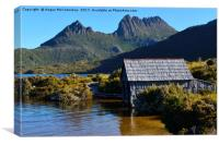Boat shed with backdrop of Cradle Mountain, Canvas Print