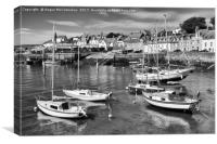 Yachts at anchor in St Monans harbour (mono), Canvas Print