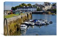 Boats in Roundstone harbour, County Galway, Canvas Print