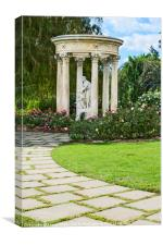 Temple of Love statue at the rose garden of the Hu, Canvas Print