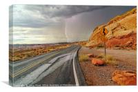 Lightning strike nevada dessert, Canvas Print