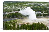 Overhead View of Old Faithful Erupting., Canvas Print