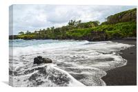 The exotic and famous Black Sand Beach of Maui, Canvas Print