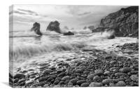 View of crashing waves from Soberanes Point in Gar, Canvas Print