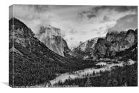 Dramatic View of Yosemite National Park from Tunne, Canvas Print